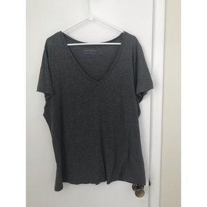 Plain gray v-neck T-shirt, 3XL